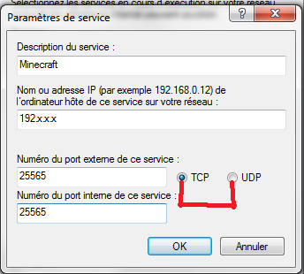 comment ouvrir le port minecraft tcp et udp (le port 25565)
