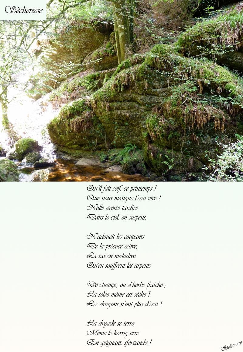 Sècheresse / / Qu'il fait soif, ce printemps ! / Que nous manque l'eau vive ! / Nulle averse tardive / Dans le ciel, en suspens, / / N'adoucit les coupants / De la précoce estive, / La saison maladive. / Qu'en souffrent les arpents / / De champs, ou d'herbe fraiche ; / La selve même est sèche ! / Les dragons n'ont plus d'eau ! / / La dryade se terre, / Même le korrig erre / En geignant, sforzando ! / / Stellamaris